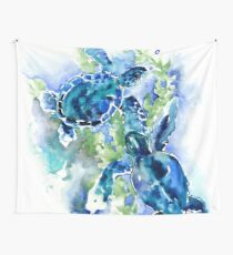 Sea Turtles Turquoise BLue design Wall Tapestry