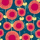 Whimsical Pink and Navy Blue Floral Pattern  by HoneybethStudio