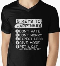 5 Keys To Happiness : Pet A Cat T-Shirt