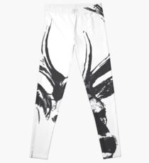 Printed from a vintage deer. artistic animal of the forest, black and gray sketch style in pencil Leggings