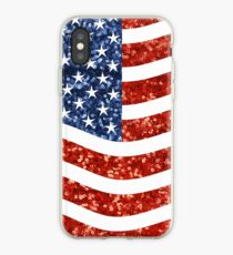 glitter american flag iPhone Case