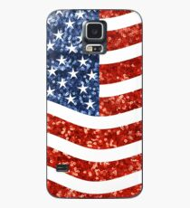 Funda/vinilo para Samsung Galaxy bandera americana glitter