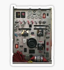 Firefighters Present - Fire Truck Engine Control Panel.Firefighter Passing Out Parade, Sticker