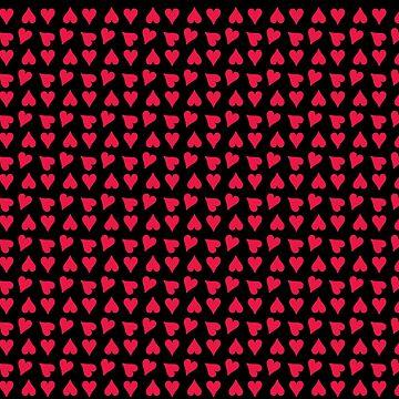 Fuchsia Heart Pattern on Black by Greenbaby