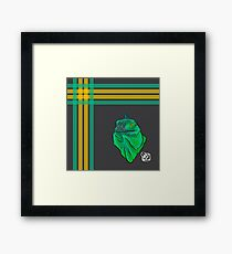 Teal and Green Iguana Plaid Framed Print