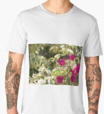 Lush vibrant purple bougainvillea bush flowers blossoming in sun closeup Men's Premium T-Shirt