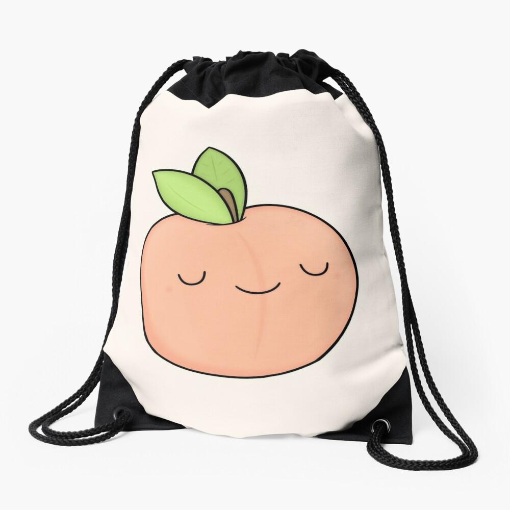 Happy Peach Drawstring Bag