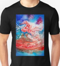 Cool Blue And Red Abstract Girly Marbling Pattern T-Shirt