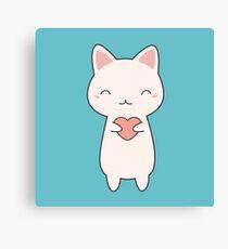 Kawaii Cute Cat With Heart  Canvas Print