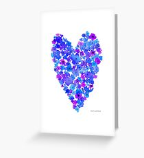 Watercolor Flowers Heart in Blue Greeting Card