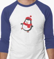 Cute Penguin on Ice Skates Men's Baseball ¾ T-Shirt