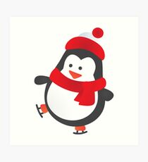 Cute Penguin on Ice Skates Art Print