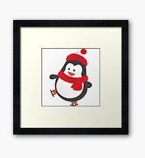 Cute Penguin on Ice Skates Framed Print