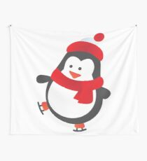 Cute Penguin on Ice Skates Wall Tapestry
