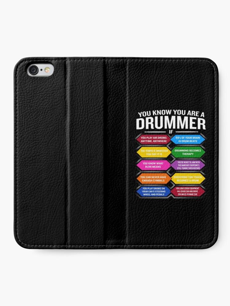 Vista alternativa de Fundas tarjetero para iPhone Eres un baterista si la cita divertida del tambor muestra los 10 mejores signos