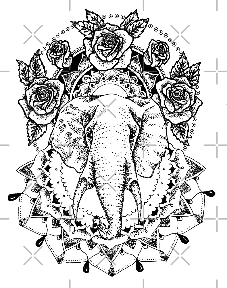 Floral Elephant Mandala by georgiamason
