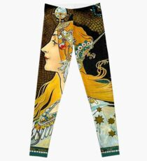 PSYCHIC FORTUNES : Vintage Gypsy Fortune Teller Advertising Print Leggings