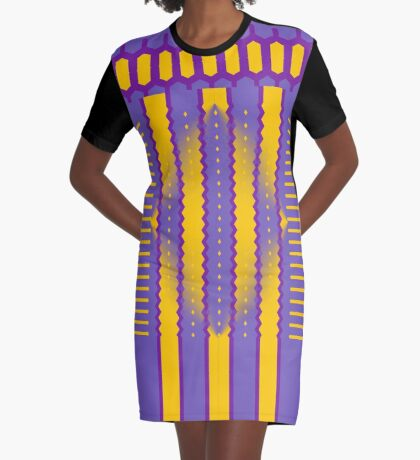 A Purple And Yellow Romance Graphic T-Shirt Dress
