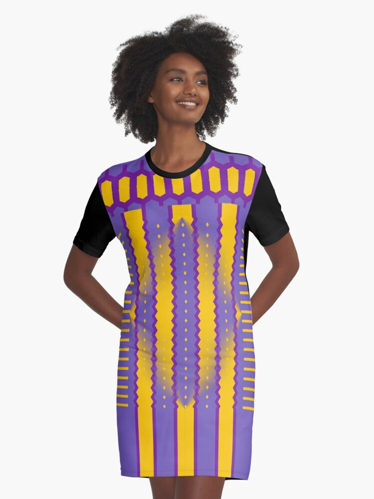 A Purple And Yellow Romance Graphic T-Shirt Dress Front