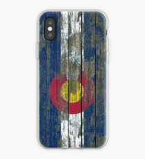 Flag of Colorado on Rough Wood Boards Effect iPhone Case