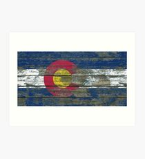 Lámina artística Bandera de Colorado en efecto de paneles de madera rugosa