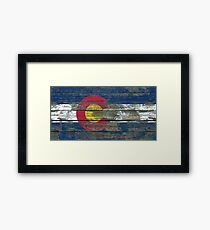 Flag of Colorado on Rough Wood Boards Effect Framed Print