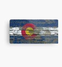 Flag of Colorado on Rough Wood Boards Effect Metal Print
