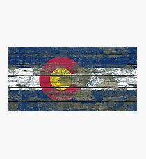Flag of Colorado on Rough Wood Boards Effect Photographic Print