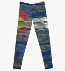 Flag of Colorado on Rough Wood Boards Effect Leggings