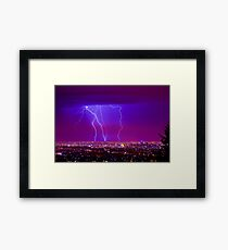 Lightning over Adelaide Framed Print