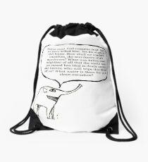 A GoodThoughtsElephant no3 of series Drawstring Bag