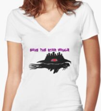 Save the Star Whale Women's Fitted V-Neck T-Shirt