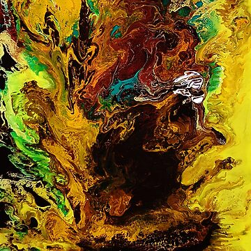 Sunflowers, acrylic pouring medium on canvas by Katarinart