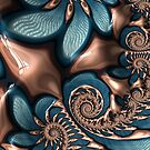 Teal and Chocolate Swirl  by Pam Blackstone