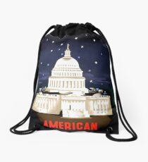 Washington Travel Poster Drawstring Bag