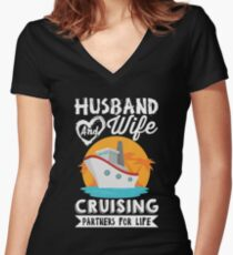 Husband and Wife Cruising Partners For Life  Women's Fitted V-Neck T-Shirt