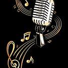 Retro Mikrofon mit Notenblatt und Musiknoten. von Christine Krahl