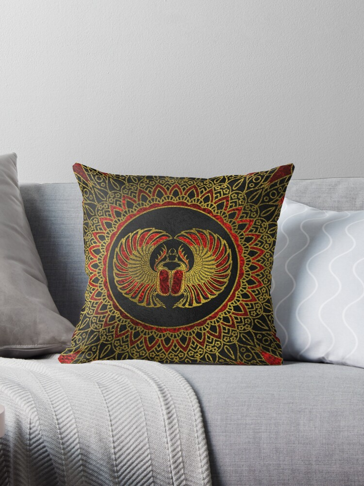 Groovy Egyptian Scarab Beetle Gold And Red Metallic Throw Pillow By K9Printart Short Links Chair Design For Home Short Linksinfo
