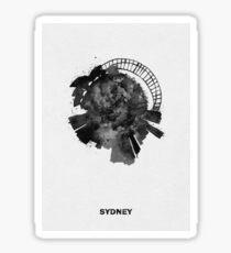 Sydney, Australia Black and White Skyround Art / Circular Panoramic Skyline Painting Sticker