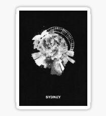 Sydney, Australia Black and White Skyround Art / Circular Panoramic Skyline Painting (Inverted Version) Sticker