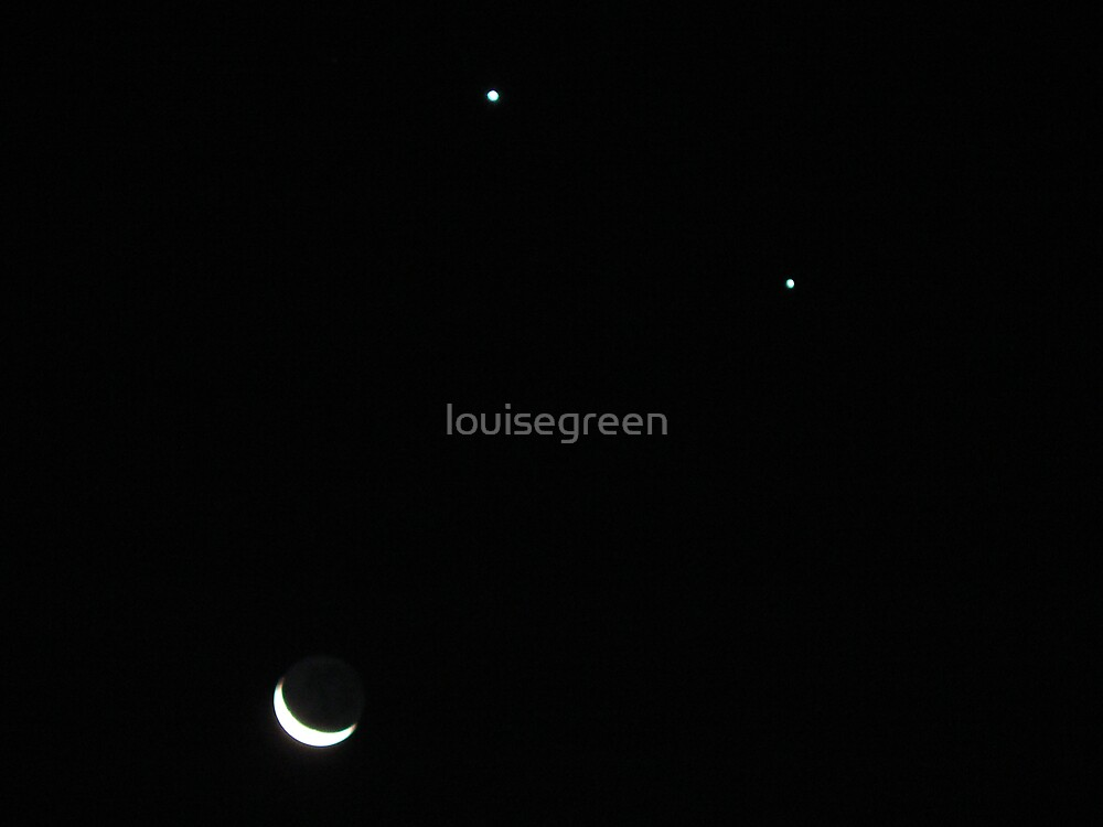 Venus, Jupiter & The Moon by louisegreen