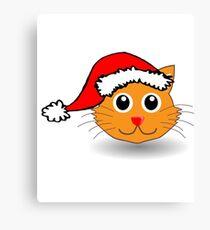 Cute Christmas Santa Cat  Canvas Print