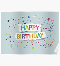 Happy Birthday Greetings on Ripped Paper Poster