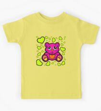 Love Teddy Bear Pink and Lime Green  Kids Tee
