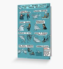 Dolphins and Marine Biologists Greeting Card