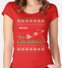 Merry Christmas Shirt Octopi Ride Shotgun Animal Lover Gifts Women's Fitted Scoop T-Shirt