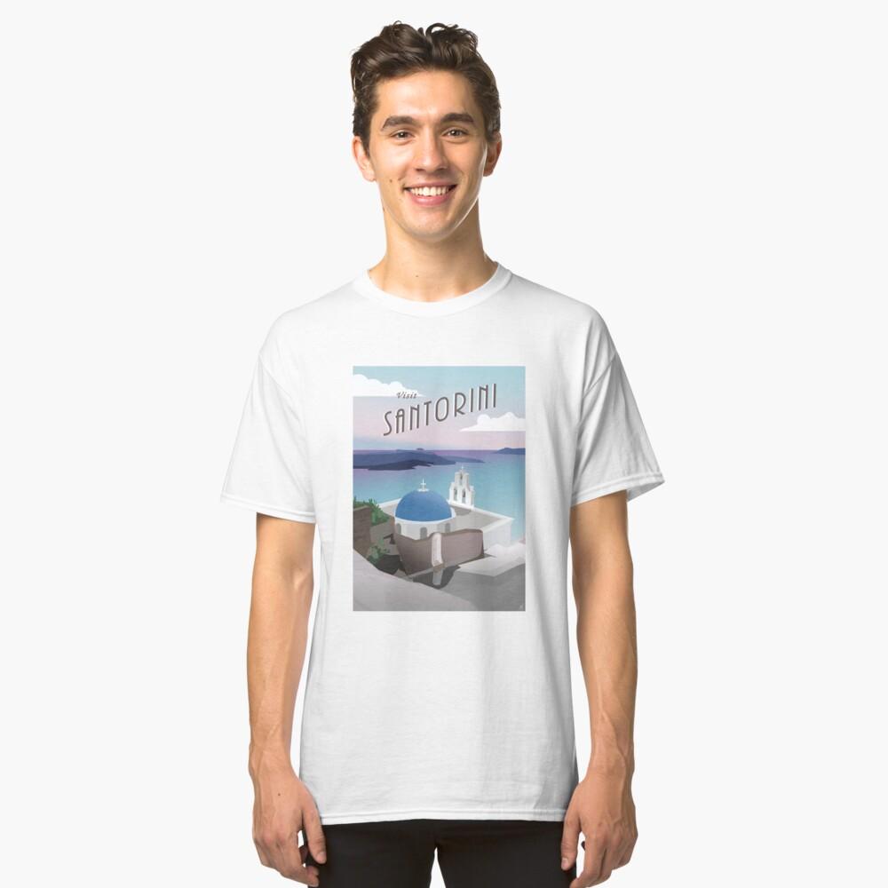 Besuchen Sie Santorini Griechenland: Retro / Vintage Travel Poster Classic T-Shirt