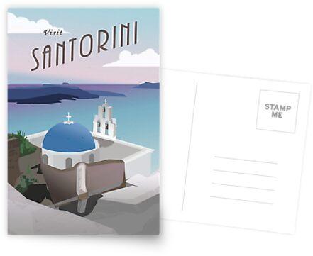 Besuchen Sie Santorini Griechenland: Retro / Vintage Travel Poster von olivialu