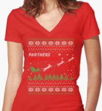 Funny Merry Christmas Shirt Cool Panthers Ride Shotgun Tee Women's Fitted V-Neck T-Shirt