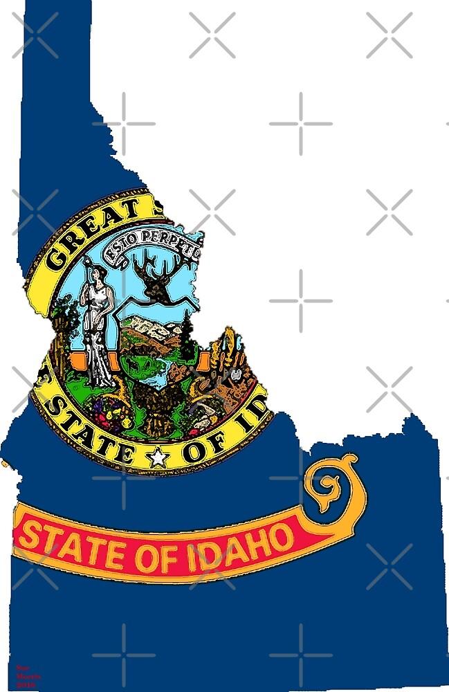 Idaho Map With Idaho State Flag by Havocgirl